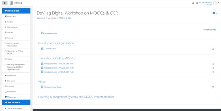 DeVilag Moodle Course Page